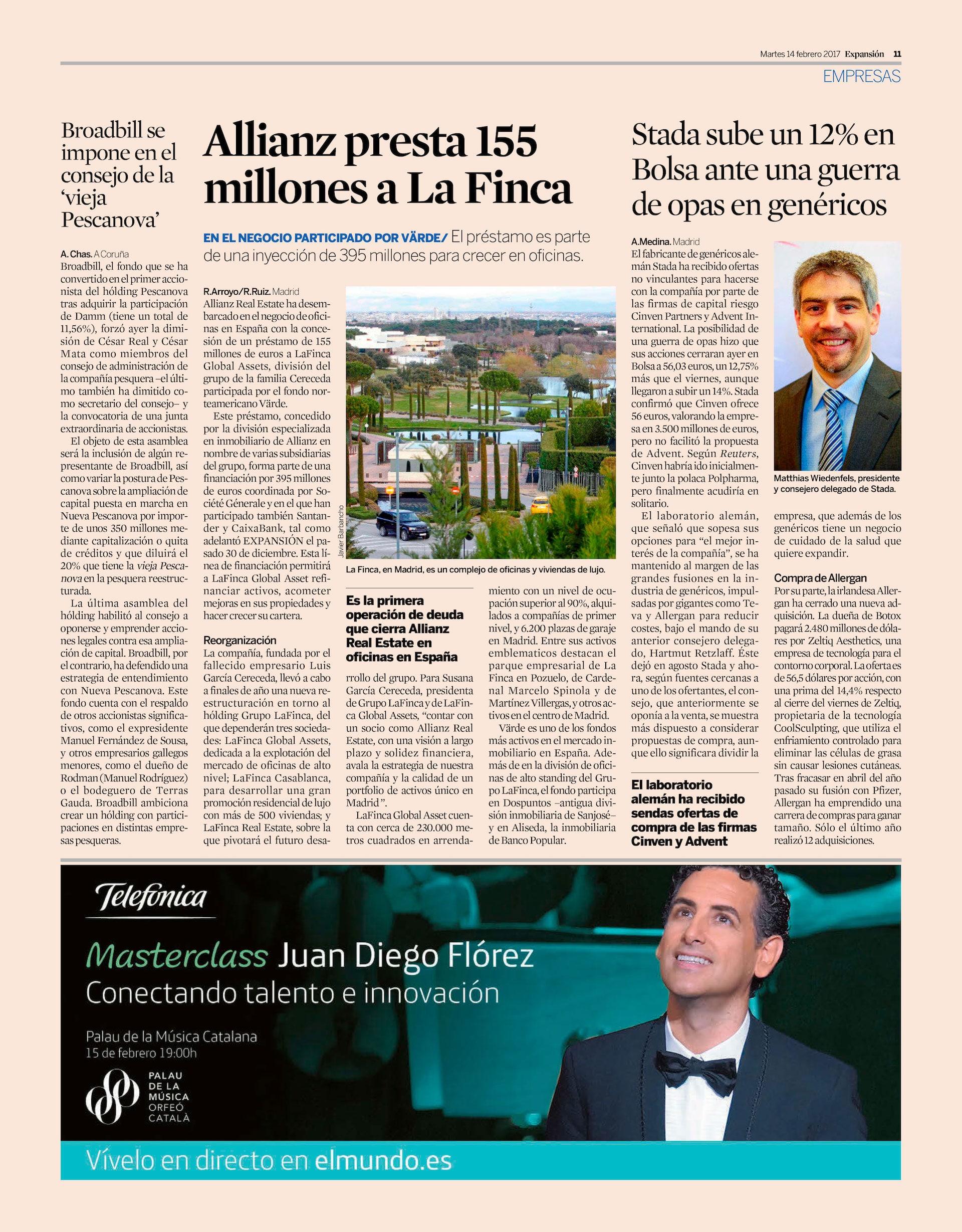 Allianz presta 155 millones a LaFinca