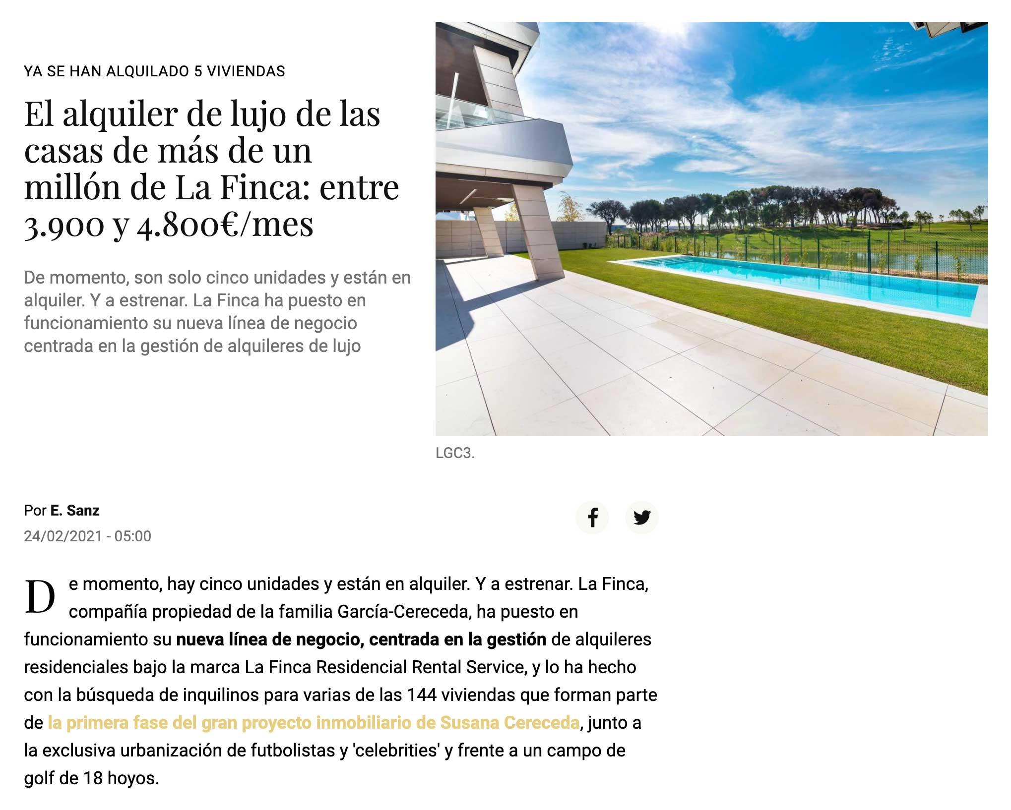 El alquiler de lujo de las casas de más de un millón de La Finca: entre 3.900 y 4.800€/mes
